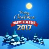 圣诞快乐与圣诞树的自然风景在雪小山和月光天空 寒假贺卡 免版税库存图片