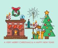 圣诞快乐与圣诞树的贺卡 新年好愿望 在平的线现代样式的海报 免版税库存图片