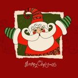 圣诞快乐与圣诞老人的传染媒介卡片 逗人喜爱和愉快的圣 免版税库存照片
