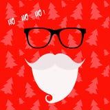 圣诞快乐与圣诞老人的贺卡 行家样式 圣诞老人` s髭和玻璃 圣诞老人胡子 免版税库存图片