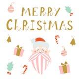圣诞快乐与圣诞老人的贺卡 免版税库存图片