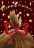 圣诞快乐与圣诞老人s袋子,传染媒介的贺卡 免版税库存图片