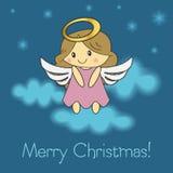 圣诞快乐与圣诞节天使的贺卡 皇族释放例证