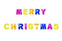圣诞快乐与在白色背景隔绝的光的颜色文本 库存照片