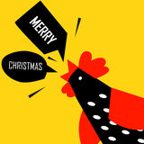 圣诞快乐与明亮的公鸡的贺卡 免版税库存图片