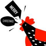 圣诞快乐与明亮的雄鸡的贺卡 免版税库存照片