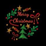 圣诞快乐与星、云杉的分支和误码率的贺卡 向量例证