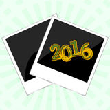 圣诞快乐与照片框架的卡片模板在抽象背景, 2016新年卡片 库存照片