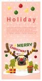 圣诞快乐与狗佩带的驯鹿服装的问候横幅 库存照片
