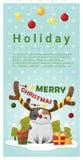 圣诞快乐与猫佩带的驯鹿服装的问候横幅 免版税图库摄影
