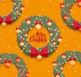 圣诞快乐与织地不很细字法的贺卡 圣诞节红色弓和金黄球装饰的绿色花圈在桔子 库存例证