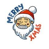 圣诞快乐与逗人喜爱的圣诞老人的贺卡 向量例证