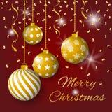 圣诞快乐与金黄电灯泡、星和五彩纸屑的贺卡传染媒介在红色背景 库存例证