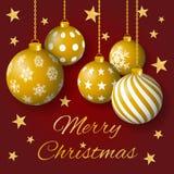 圣诞快乐与金黄电灯泡和星的贺卡传染媒介在红色背景 库存例证