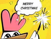 圣诞快乐与雄鸡、闪烁发光物和文本的传染媒介例证 免版税库存图片