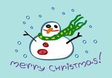 圣诞快乐与雪人字符的贺卡 向量例证