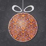 圣诞快乐与玻璃装饰品的贺卡 免版税库存图片