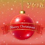 圣诞快乐与3d红色球的装饰背景 星、闪烁、中看不中用的物品和丝带,白色冬天雪花 xmas 免版税库存图片