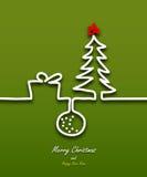 圣诞快乐丝带贺卡的纸设计 图库摄影