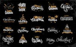 圣诞快乐书信设计集合 免版税图库摄影