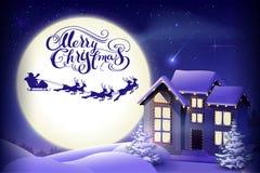圣诞快乐书法文本贺卡 圣诞老人驯鹿反对月亮背景的雪橇剪影在夜空的 夜 图库摄影