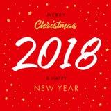 圣诞快乐书法2018年和新年快乐红色贺卡 免版税库存照片