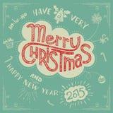 圣诞快乐乱画贺卡 库存图片