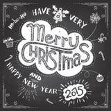 圣诞快乐乱画黑板 库存照片