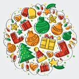 圣诞快乐五颜六色的党 库存图片