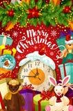 圣诞快乐传染媒介庆祝贺卡 库存图片