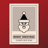 圣诞快乐传染媒介最小的样式贺卡 免版税库存照片