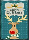 圣诞快乐传染媒介raindeer字符贺卡 免版税库存照片