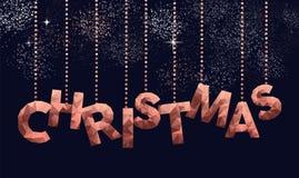 圣诞快乐低落多铜标志贺卡 向量例证