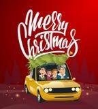 圣诞快乐例证,在汽车的家庭假日 免版税库存图片
