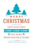 圣诞快乐党海报减速火箭的印刷术和 免版税库存照片