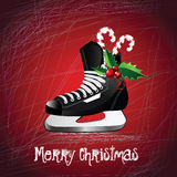 圣诞快乐冰鞋 库存照片