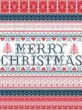 圣诞快乐北欧样式传染媒介无缝的圣诞节样式由斯堪的纳维亚圣诞节,在针的欢乐冬天启发了 免版税库存照片
