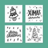 圣诞快乐卡片汇集 库存照片