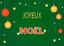 圣诞快乐卡片用法语 免版税库存图片