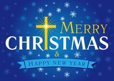 圣诞快乐卡片蓝色 库存图片