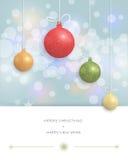 圣诞快乐卡片设计圣诞节与圣诞节球的贺卡 免版税图库摄影