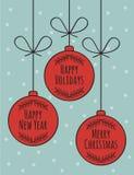 圣诞快乐卡片设计 免版税库存图片
