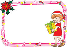 圣诞快乐卡片边界框架 免版税图库摄影