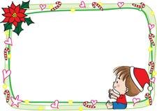 圣诞快乐卡片边界框架 库存照片