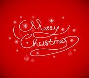 圣诞快乐卡片,手拉的字母表 免版税库存照片