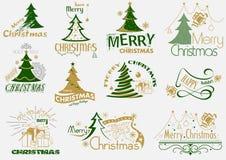 圣诞快乐印刷术集合 图库摄影