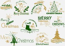 圣诞快乐印刷术集合 免版税库存照片