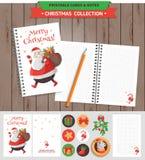 圣诞快乐可印的集合 免版税库存照片