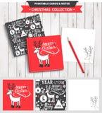 圣诞快乐可印的集合 免版税图库摄影