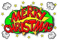 圣诞快乐可笑的讲话泡影 免版税库存照片